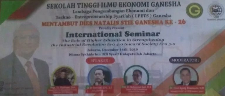 Jelang Dies Natalies ke 26, STIE Adakan Seminar 'Strengthening role of Higher Education in the Industrial Revolution 4.0 and 5.0 Society'